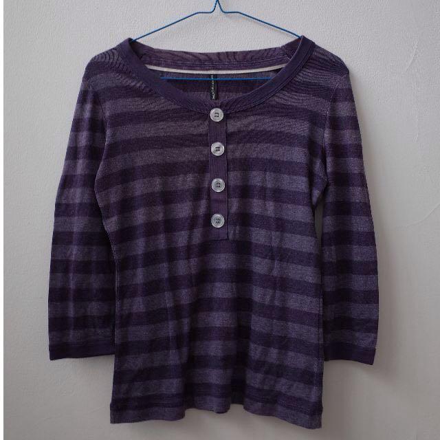 Marks & Spencer Blue Grey Washed Stripes Tshirt Mid Sleeves