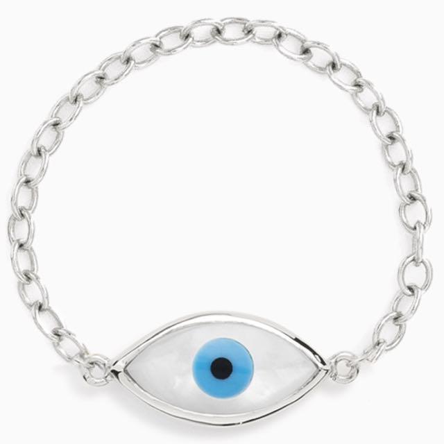 Mejuri Evil Eye Chain Ring Size 7