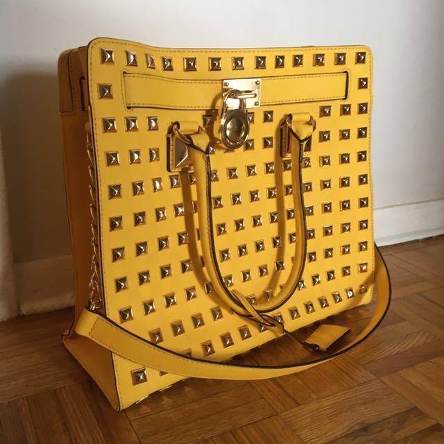 MK authentic leather gold studded handbag