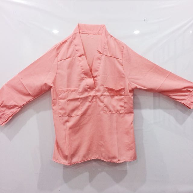 NEW - Peach / Salem Satin Blouse