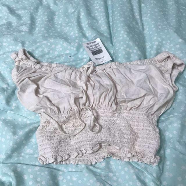 b0674cb5923 NWT Brandy Melville Pale Pink Marilyn off shoulder top, Women's Fashion,  Clothes, Tops on Carousell