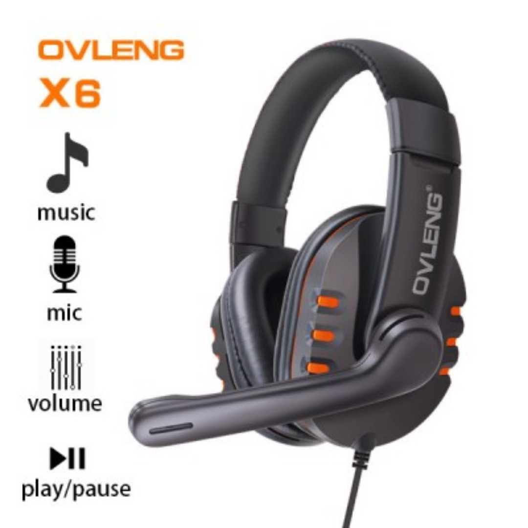 Ovleng X6 Wired Stereo Headphone with Microphone for Computer Games Orange SKU: V28-AHSOVLX6ORG