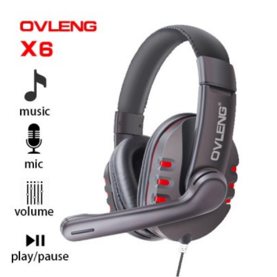 Ovleng X6 Wired Stereo Headphone with Microphone for Computer Games SKU: V28-AHSOVLX6RED