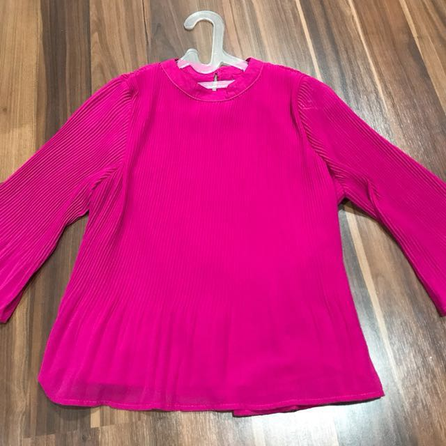 Pleated Pink Office Top