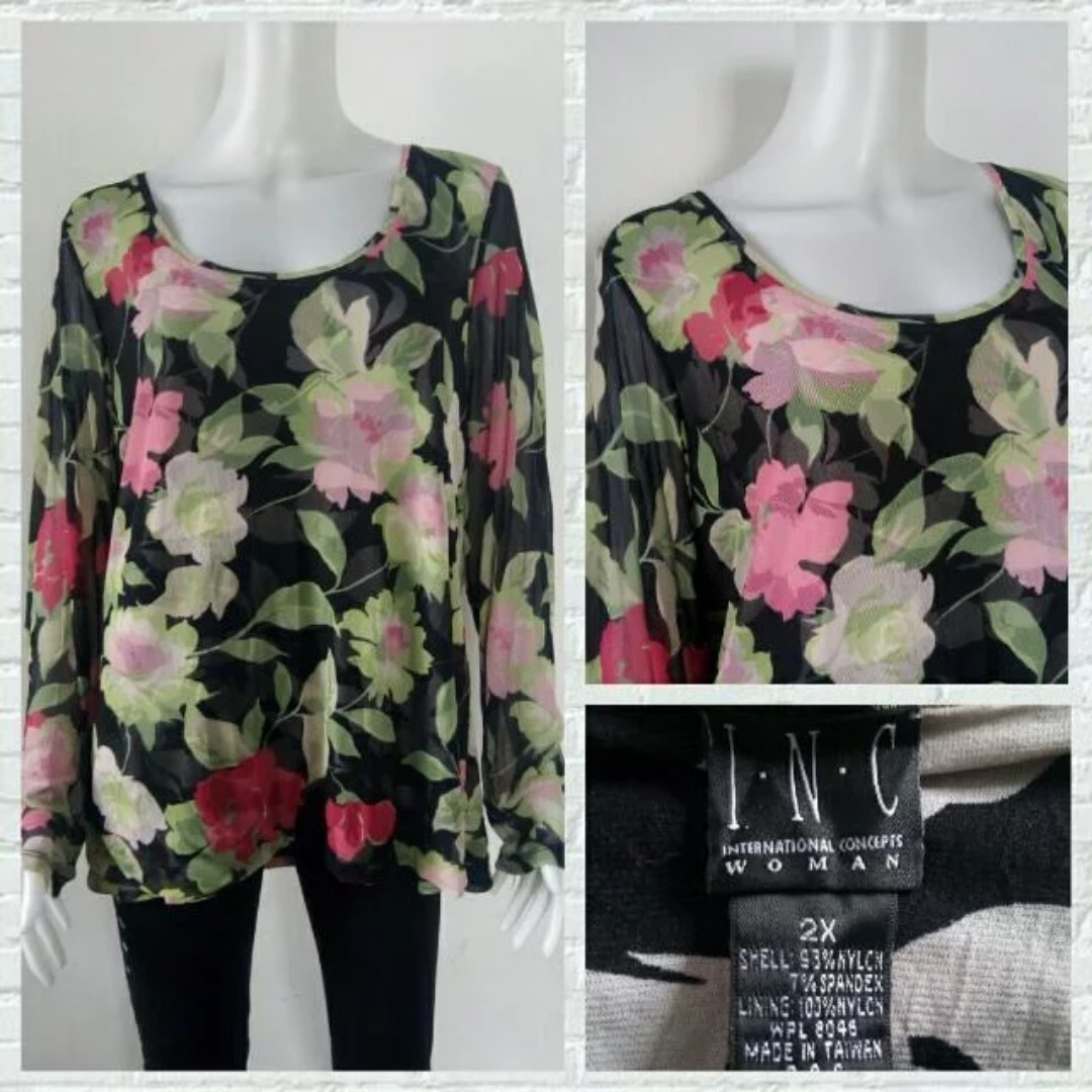 Plus Size INC Woman Floral Long Sleeves
