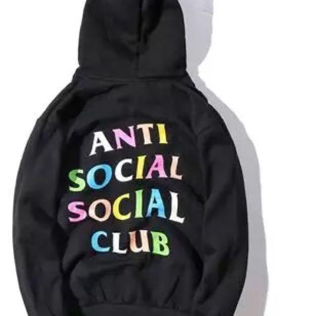 9078c2b25081 PO  AUTHENTIC Anti Social Social Club Hoodie ASSC Black with rainbow ...