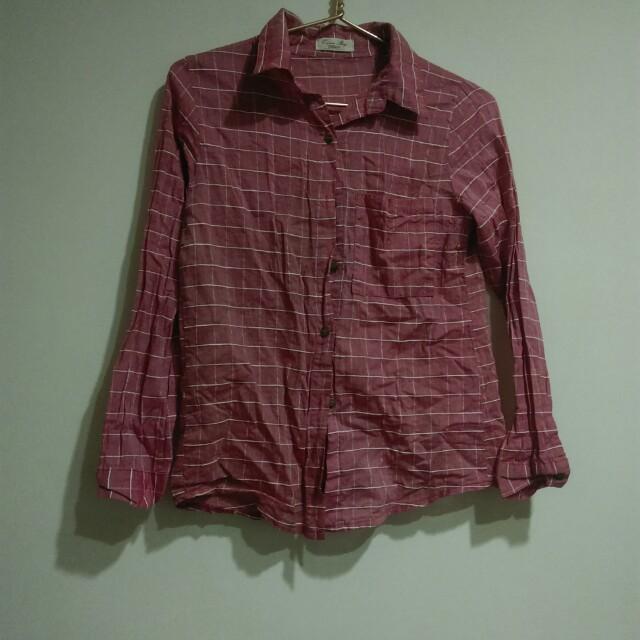 Queenshop粉色棉麻格子襯衫