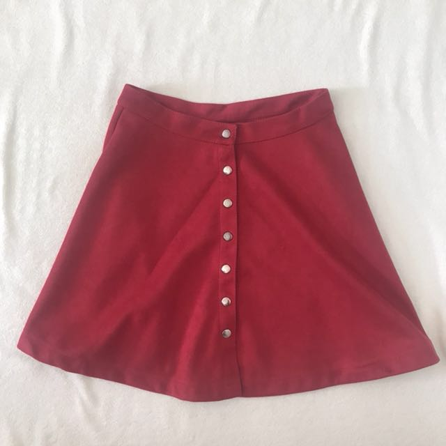red button down skater skirt