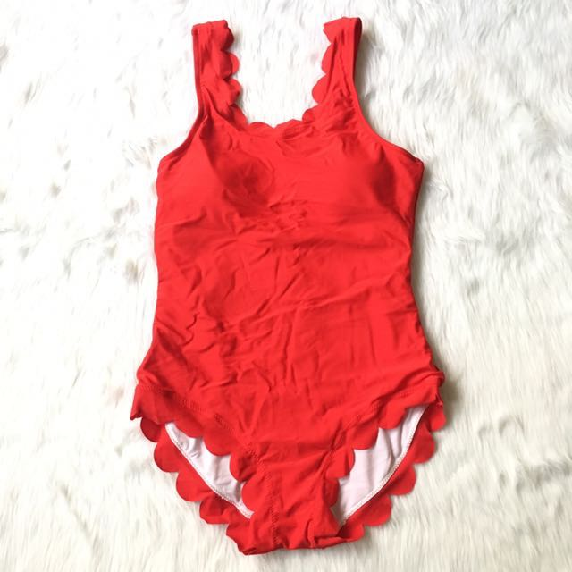 Red One Piece Scalloped Swimsuit
