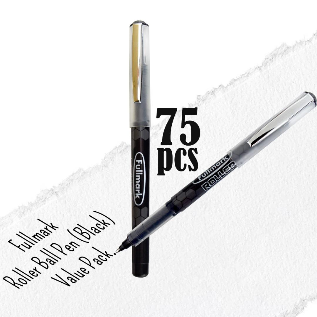 RM100 Value Pack! 75pcs x Fullmark Roller Ball Pens, 0.7mm Fine Point, Black
