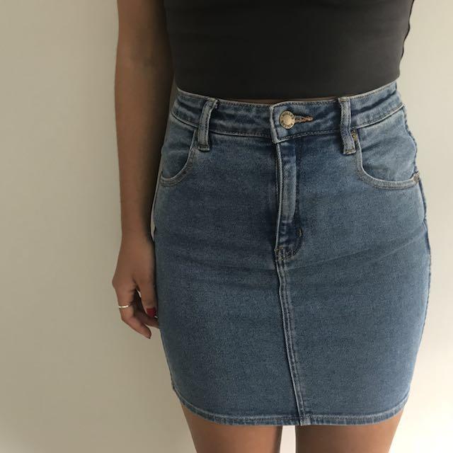 Rollas Pencil Denim Skirt