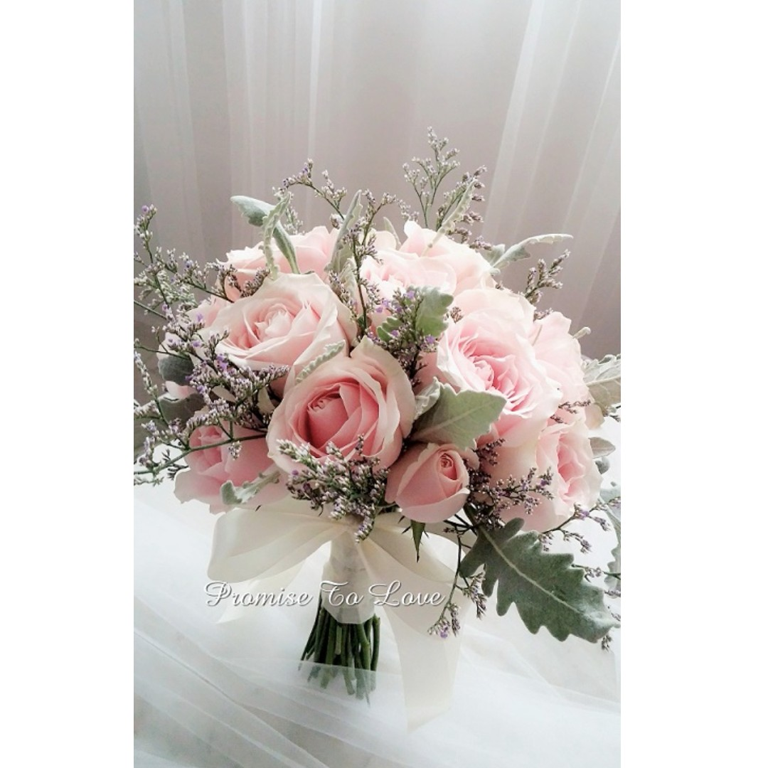 Rustic pink romance fresh roses & mixed flowers bridal bouquet ...