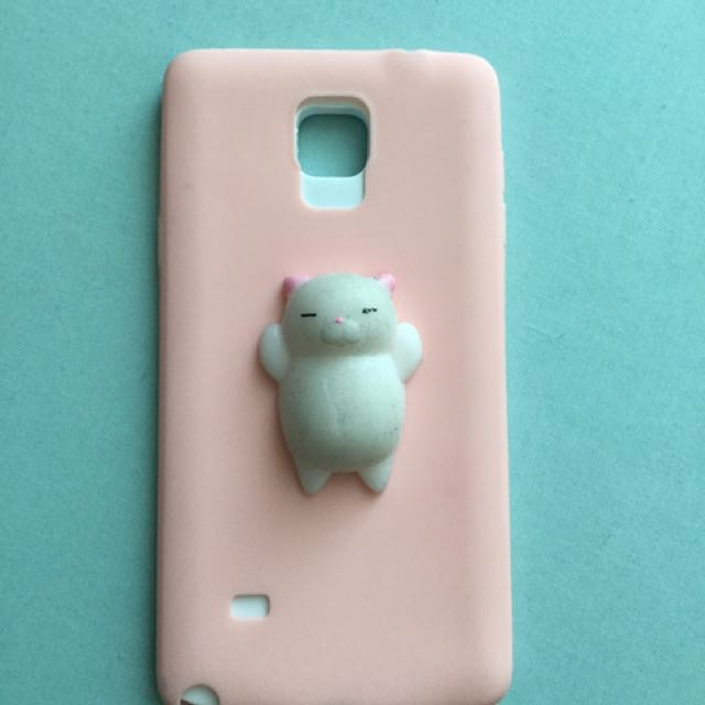 📦Samsung note 4 pink case with silicon squishy