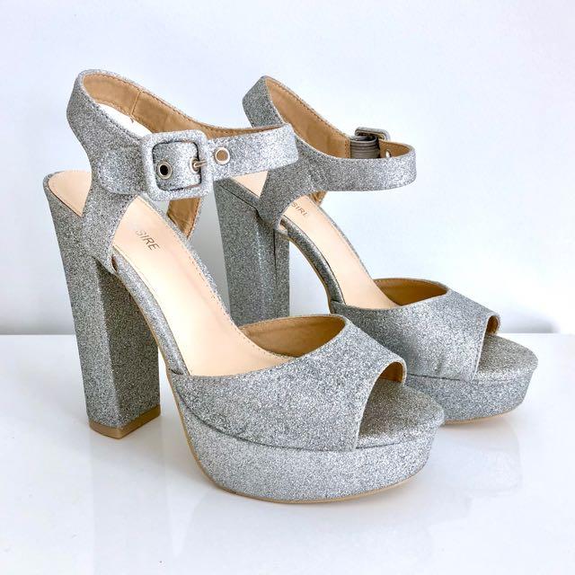Sz 39 glitter silver sparkle high heels platform shoes