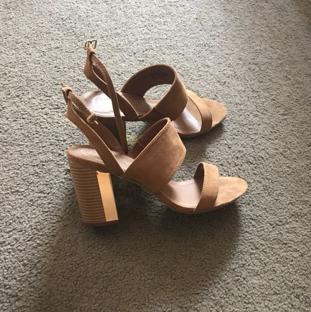 Tan Heels with gold detail