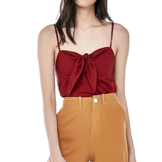 f8ef4a23a6adaa TEM MEARA FRONT TIE CROP TOP, Women's Fashion, Clothes, Tops on ...