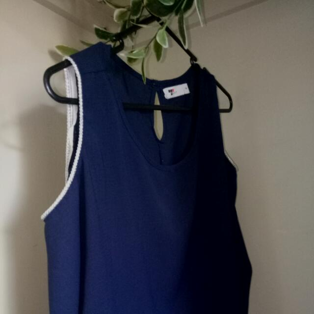 Temt Off The Shoulder Diver Piping Navy Blue Top Size 14