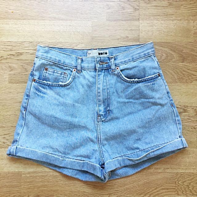 Topshop Bleached Highwaisted Denim Shorts