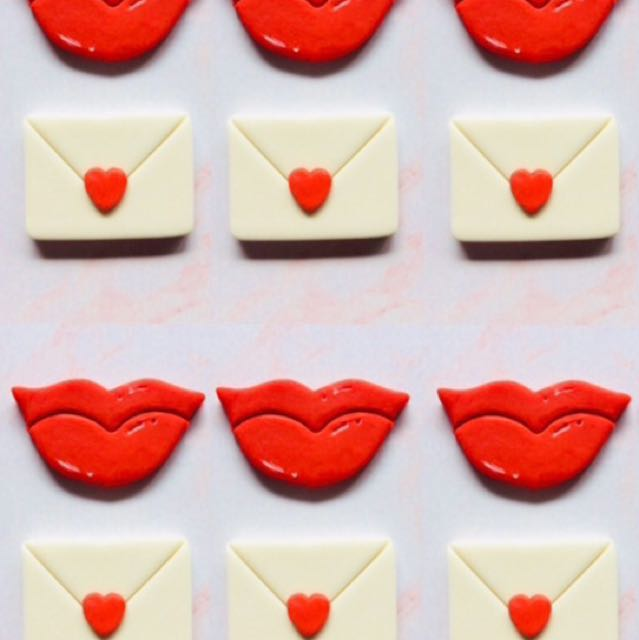 Valentine's Day cupcake toppers red hot lips & love letters