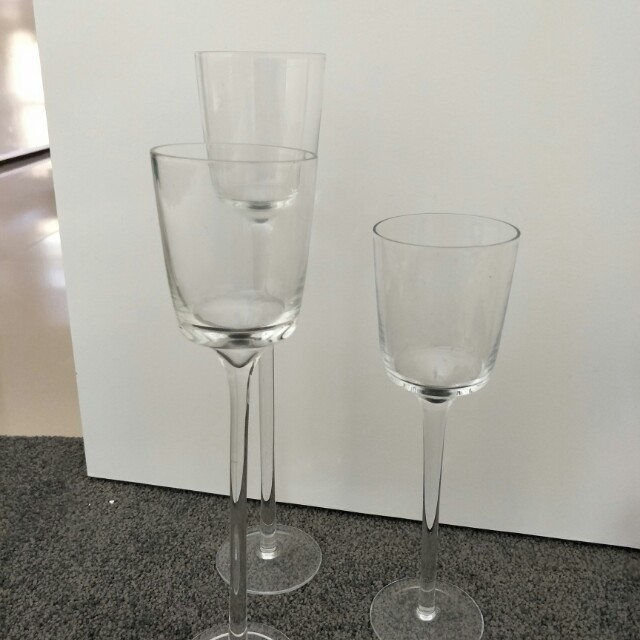 wedding or event centerpiece glass candle stand trio set
