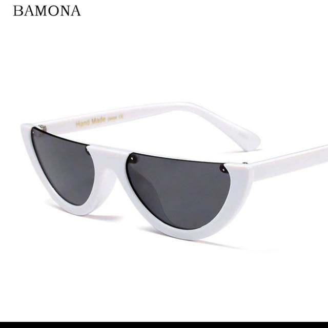 White Half Frame Sunglasses