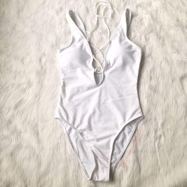 White One Piece Shoelace Swimsuit