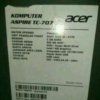 Acer aspire TC-707 plus meja komputernya