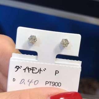 超值!PT900鉑金 40份耳釘 價格只到27號 PT900 0.40ct diamonds earrings form Tokyo