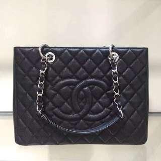 Chanel GST 荔枝紋 黑色 銀扣