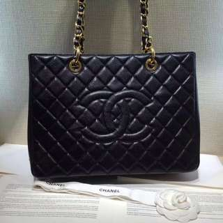 Chanel GST 荔枝紋 黑色 金扣