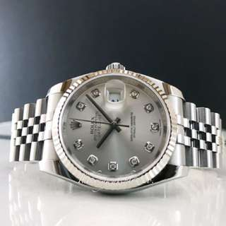 Pre owned Rolex Datejust 116234 silver diaMonds
