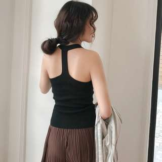 SALES | BNIB MDS Korean Style Round Halter Neck Knit Top With T-Back (T92)