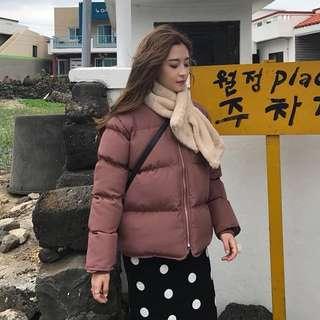 韓國磚紅色麵包羽絨服