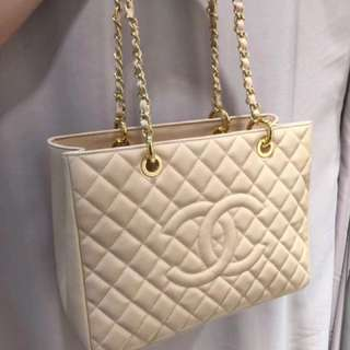 Chanel GST 荔枝紋 杏色 金扣