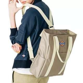 日本雜誌2017附錄 Dickies卡其色 tote bag雙肩大容量書包兩用 刺繡牛津布 男女通用 包平郵