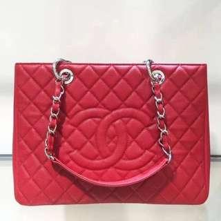 Chanel GST 荔枝紋 大紅色 銀扣