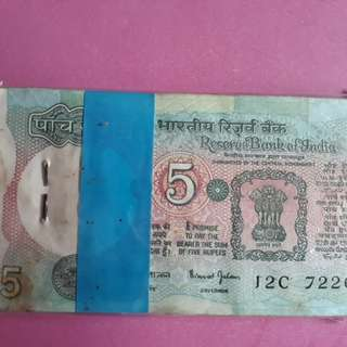100 Notes Serial Packet ( Bundle ) Dr. BIMAL JALAN - TRACTOR - 5 Rs india UNC - ( 1991 - 1995 )