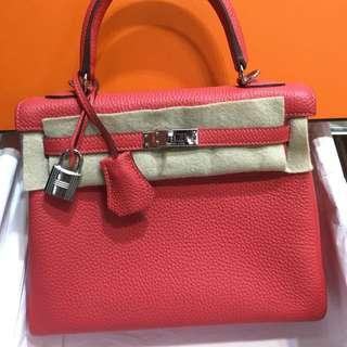 正品 99%新 Hermes Kelly 25 2R Rouge Pivone 牡丹粉紅色銀扣手挽側揹袋