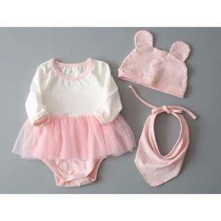 🌸3 PCS GIRLS NEWBORN BABY CLOTHES CAP HAT+BODYSUIT+BIB ROMPER🌸