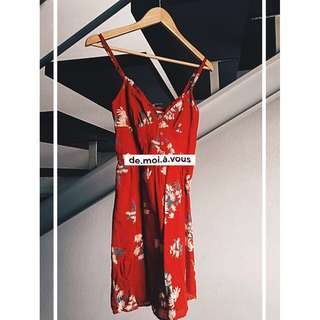 Forever 21 red floral-print summer dress