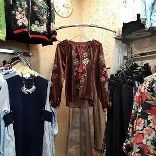 Zara velvet embroidered blouse