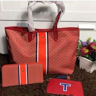 Tory Burch Set (Tote Bag, Wallet and Pouch with tassel)