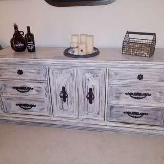 """Rustic Farmhouse credenza/dresser. Distressed & painted off white.Measurements 72.5"""" long x 19.25"""" wide x 30"""" high.  See our other work at restorationharris on INSTAGRAM."""