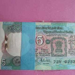 100 Notes Serial Packet ( Bundle ) R.N. MALHOTRA  ' A ' - TRACTOR - 5 Rs india UNC