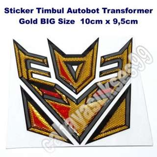 Stiker MOTOR Timbul Autobot Transformer GOLD 10cm X 9.5cm Ukuran Besar Decal Sticker Body Kaca Mobil Plastic Resin Tebal Kode 03a New Stock TERLARIS