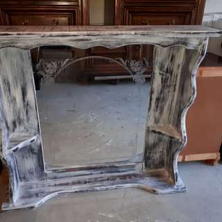 """Hutch mirror for a dresser top. Measurements 4ft long x 41.4"""" high x 9"""" wide or deep. See our other painted furniture at restorationharris on INSTAGRAM."""