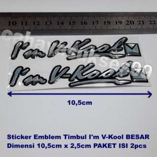 Sticker MOBIL Timbul Im VKOOL 10.5cm X 2.5cm Model BESAR Stiker Mobil Cutting Decals Plastic Resin Paket HEMAT Isi 2pcs New READY Stock