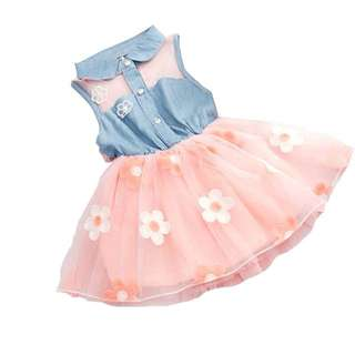 🌸KIDS GIRLS TODDLERS CASUAL SLEEVELESS COLLAR TULLE DRESS FLORAL DRESS🌸