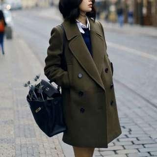 😍出口韓國🇰🇷首爾單,挺身+修身型款中長外套,軍綠色市面少見 $239