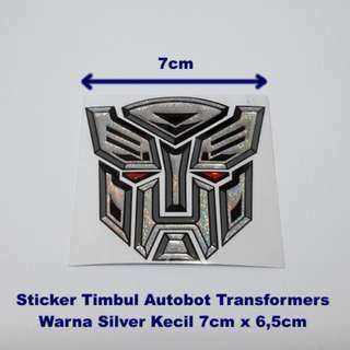 Sticker MOTOR Timbul Autobot Transformer SILVER 7cm X 6.5cm Dimensi KECIL Stiker Body Motor Kaca Mobil Plastic Resin New Ready Stock